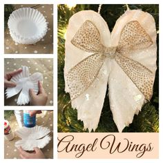 DIY Sparkling Angel Wings Ornaments From Coffee Filters