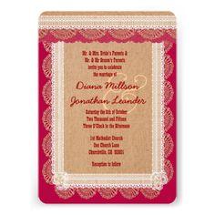 Rustic Style Burlap Texture and Lace Wedding V01b3 Card www.zazzle.com/... #rustic #wedding #fall #autumn #barn #lace #burlap