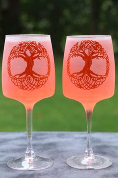 Ornate Tree of Life with celtic circle Etched wine glasses Glasses Set Of 2 by…