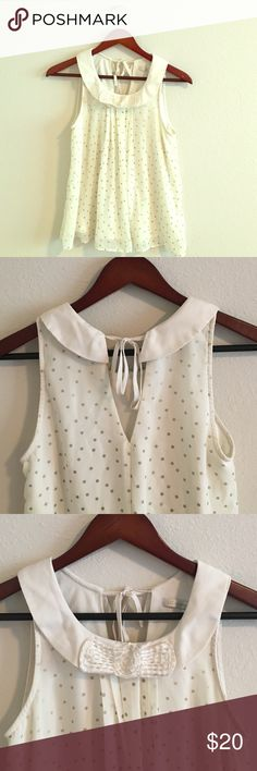 LC Lauren Conrad bow blouse 🎀 ONLY WORN ONCE! LC Lauren Conrad Collection tank bow blouse. Super light material! Perfect to pair with skinny jeans and nude flats! Very detailed and in great condition!!      💕All purchases will receive Avon Care Chapstick 💕    🎉All purchases over $50 will receive Avon Care Chapstick PLUS a surprise gift! 🎉 LC Lauren Conrad Tops Blouses
