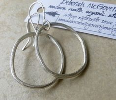 LOOPS Hoop Earrings, simple sterling silver Hammered Textured forged modern rustic bohemian hoops, handcrafted metalwork, on Etsy, $29.00