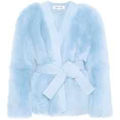 Diane von Furstenberg Fur Wrap Jacket (10.330 RON) ❤ liked on Polyvore featuring outerwear, jackets, coats, blue, diane von furstenberg, wrap jacket, diane von furstenberg jacket, blue fur jacket and blue jackets
