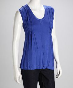 Take a look at this Ocean Pleated Sleeveless Top by Zashi on #zulily today!