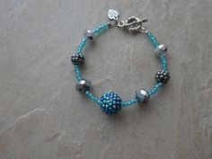 Chunky Blue and Silver Crystal Rhinestone by MadeInTheFalls