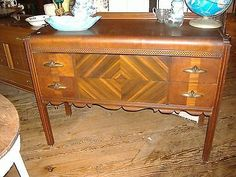 Walnut Waterfall Buffet Vintage Antique Art Deco Hollywood Glam Regency