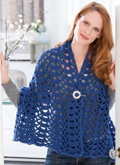 Fan Trellis Wrap   Rows of shells and pretty open stitches are combined for an all-season wrap to wear with everything from jeans to the prettiest party dress. Best of all, since you are crocheting with medium weight yarn it won't take long until you can wear it.  free pdf