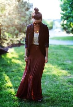 88 Have this maxi skirt. Try this with a lace top. Fall Fashion.