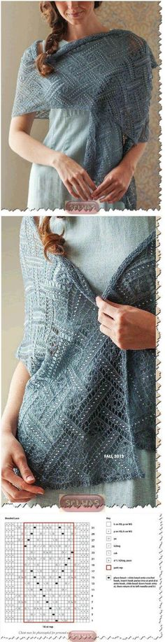 New Knitting Scarf Lace Shawl Patterns Ideas Lace Knitting Patterns, Shawl Patterns, Lace Patterns, Knitting Stitches, Knitting Tutorials, Knitting Machine, Free Knitting, Crochet Shawls And Wraps, Lace Shawls