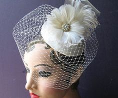 Weddings Ivory Birdcage Veil Bridal Hat Feather by BatcakesCouture