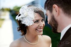 Another custom Bridal headpiece hat with vintage ceiling and feather plumes. Picture by @JOS photographers - Jos Smith