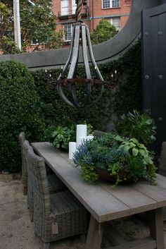 vignette design: The San Francisco Restoration Hardware Gallery --- love this outdoor space and the succulents Outdoor Rooms, Outdoor Gardens, Outdoor Living, Outdoor Decor, Roof Gardens, Lustre Exterior, Porches, Landscape Design, Garden Design