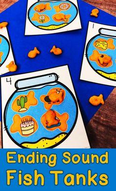 Ending Sound Center - Kindergarten Ending Sound Activity Kindergarten Lesson Plans, Kindergarten Centers, Kindergarten Reading, Literacy Centers, Letter Activities, Phonics Activities, Writing Activities, Reading Resources, Phonics Reading