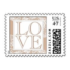 Taupe and White Lace LOVE Stamp