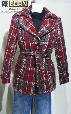 VINTAGE WOMAN WOOL TRENCH SIZE 32 / TRENCH VINTAGE LANA TAGLIA 46