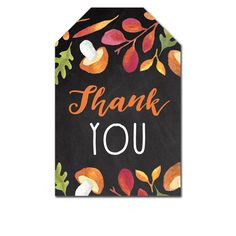 Thank You Tags - Rustic Chalkboard Fall Autumn Leaves - Favor Tags Wedding Bridal Baby - Instant Download Printable
