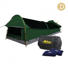 Double Camping Swag with Air Pillow - Green