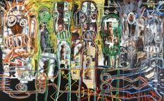 Aboudia Untitled 2013 Acrylic and mixed media on canvas 125 x 200 cm Graphic Art, Graphic Design, Saatchi Gallery, Arts Ed, Artist Profile, Outsider Art, Postmodernism, Mixed Media Canvas, Figure Painting