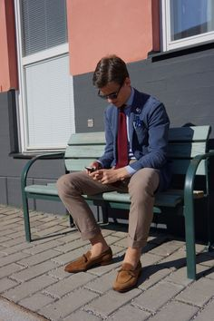 Summer in sweden men style suit sockless