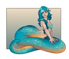 turquoise naga by artofdroth Fantasy Kunst, Anime Fantasy, Fantasy Art, Anime Monsters, Cute Monsters, Mythological Creatures, Mythical Creatures, Character Concept, Character Art