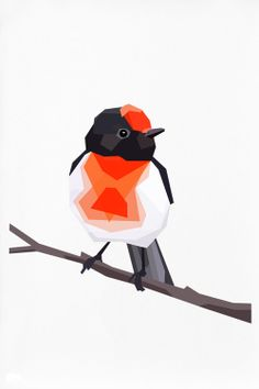 Geometric illustration Redcapped Robin Animal by tinykiwiprints