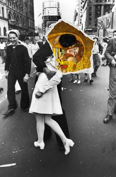 Such a beautiful collage , I found it online, I don't know who made it but such immense beauty, the kiss by Gustav Klimt and the most famous photograph V-J day in times Square.The Kiss. Photomontage, Dadaism Art, Illustration Art, Illustrations, Arte Pop, Surreal Art, Oeuvre D'art, Art Inspo, Art History