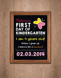 Back to School Sign  Kindergarten First Day of by thespottedpixel, $8.50