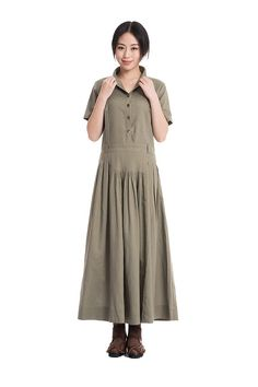 KL133D Look at You/Womens Clothing Plus Size Petite Maternity Party Summer Short Sleeves Pleated Linen Cotton Army Green Maxi Long Dress