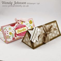 Triangular Gift Box or Toblerone Gift Box using stampin' Up's Trim the Tree DSP and All Abloom DSP paper stacks