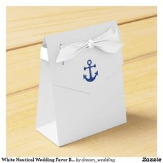 White Nautical Wedding Favor Boxes With Anchor