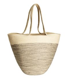 Check this out! Bag in thick jute fabric with long handles. Size 14 1/2 x 16 1/2 in. - Visit hm.com to see more.