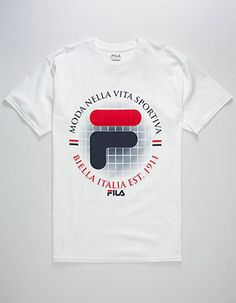 Fila graphic screened on the front. Boys Shirts, Tee Shirts, T Shirts For Women, Fila Outfit, T Shart, Tee Shirt Homme, Camisa Polo, Herren T Shirt, Apparel Design