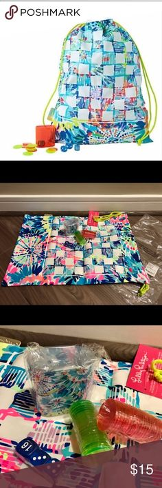 NWT: Beach Bag - Dive In Beach bag with games. Dive In print. New with tags. Lilly Pulitzer Accessories