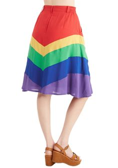 Day Laughter Day Skirt. Your favorite looks always brighten the room with cheer, and this rainbow skirt from Bea  Dot is no exception. #multi #modcloth
