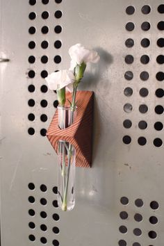 """Rustic magnetic laboratory bud vase by BOURBON MOTH (U.S.A.)   Price: $15.00   Dimensions- 7"""" x 2.25"""" x 1.75""""   Wood Type: salvaged douglas fir   Includes one glass Testing tube   SOURCE: https://www.etsy.com/listing/219011606/rustic-magnetic-laboratory-bud-vase-test → #Vase #DouglasFir #BourbonMoth"""