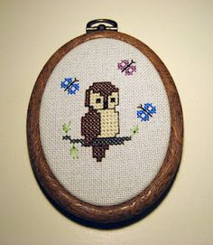 Adorable cross-stitch owl! (No pattern, but just zoom in; you'll get it. :))