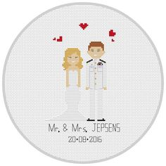 Personalised Custom Cotton Anniversary Gift Portrait 2 Characters Anniverary gift  Wall art Family pet portrait  Cross Stitch Pixel People