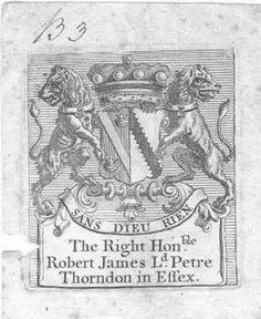 Ex Libris of Robert James Petre, 8th Baron Petre of Thorndon Hall, Essex