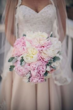 Classic white and pink peonies wedding bouquet; Spring Wedding Bouquets, Peony Bouquet Wedding, Bridal Flowers, Bridal Bouquets, Hand Bouquet, Flower Bouquets, Wedding Dresses, Mod Wedding, Floral Wedding