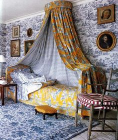 Blue and yellow toile.
