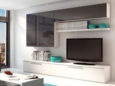 Mur TV MAKASAR avec rangements - Anthracite laqué & blanc prix promo Meuble Tv Vente Unique 569.99 € TTC prix constaté 909 €