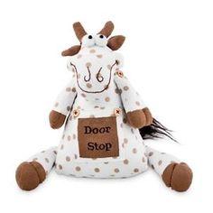 Spotty-Animal-Doorstop-White-Brown-Polka-Dot-Farmyard-Cow-Door-Stop-DC99085