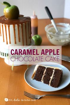 Chocolate and caramel never looked so good! This chocolate caramel apple cake is the best of chocolate and salted caramel with a homemade caramel apple on top! And the best part about is the homemade caramel slowly dripping down the sides. Learn how to ma Apple Cake Recipes, Baking Recipes, Dessert Recipes, Cupcake Recipes, Chocolate Caramel Cake, Chocolate Cake Recipe Easy, Chocolate Cakes, Buttercream Recipe, Caramel Buttercream