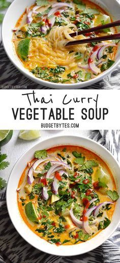 Curry Vegetable Soup - Budget Bytes Thai Curry Vegetable Soup is packed with vegetables, spicy Thai flavor, and creamy coconut milk.Thai Curry Vegetable Soup is packed with vegetables, spicy Thai flavor, and creamy coconut milk. Veggie Recipes, Dinner Recipes, Cooking Recipes, Healthy Recipes, Delicious Recipes, Thai Vegetarian Recipes, Thai Curry Recipes, Vegetarian Thai Curry, Easy Thai Recipes