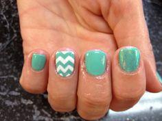 Nail shellac gelish gel nails nail art cute pastel Tiffany blue chevron white glitter