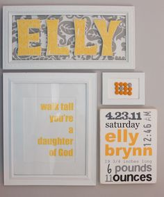 I want to put the exact date, day, and time as well as the weight/length of my future kids on their walls like this :)