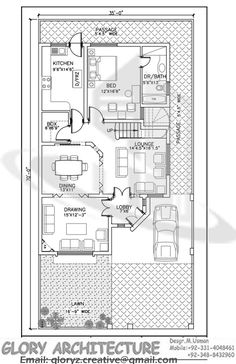 7 marla house plan 1800 sq ft 46x41 feet house plan pinterest House map drawing