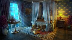 Bedroom for Mountain Trap 2 video game., Oleksandr Kryklyvyi on ArtStation at https://www.artstation.com/artwork/2Kaaa