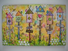 Birdhouse Town mixed media art by Julie Karsky.