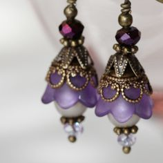 Purple Peapod Pearl Earring by TwoHeartArt on Etsy, $16.00