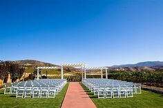 Leoness Cellars wedding ceremony lawn overlooking the vineyards in beautiful Temecula Valley.
